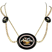 1820s Antique Micro Mosaic Gold Necklace 18 Karats gold yellow