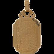 19th Century French Rectangular Engraved 18 Karats Yellow Gold Locket Pendant Medallion