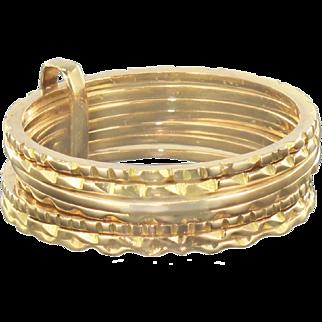 """1900s """"Semainier"""" Yellow Gold Ring"""