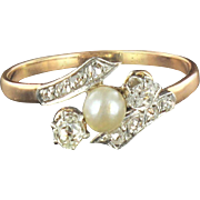 French Antique Fine Pearl Diamond Gold Ring 18 Karats gold rose