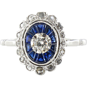 French Art Deco Sapphire and Diamond Ring 18 Karats white gold