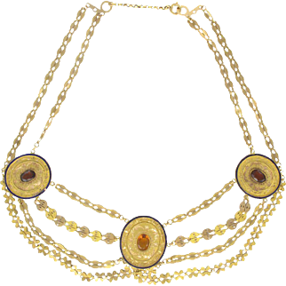 1850s French Antique Enamel Gold Necklace 18 Karats gold yellow