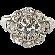 Art Deco French Diamond 18  Karats White Gold Ring