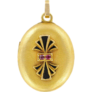 Napoleon III Oval Enamel and Ruby Medallion Locket Pendant 18 Karats Yellow Gold