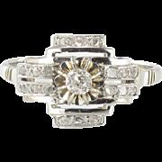 Art Deco Diamond 18 Karats White Gold Platinum Ring