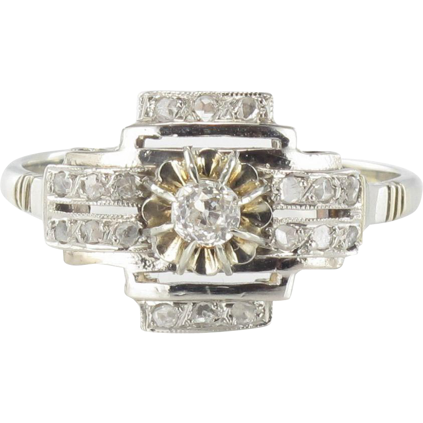 deco 18 karats white gold platinum ring from