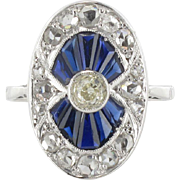 French Art deco Calibrated Sapphire and Diamond Ring 18 Karats White Gold