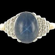 French Art Deco Star Sapphire and Diamond Ring 18 Karats gold yellow
