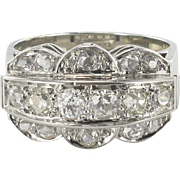 French Authentic Art Deco Platinium 18 Karats White Gold Diamond Ring