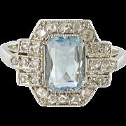 French Art Deco Aquamarine and Diamond Ring 18 Karat gold white