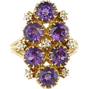 French 1960s Amethyst and Diamond Cocktail Ring 18 Karat gold yellow