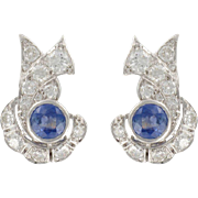 French Art Deco Sapphire and Diamond Earrings 18 Karats White Gold