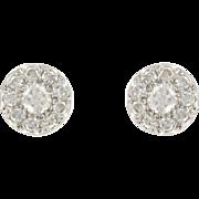 1960s French Diamond 18 Karat Gold White Stud Earrings