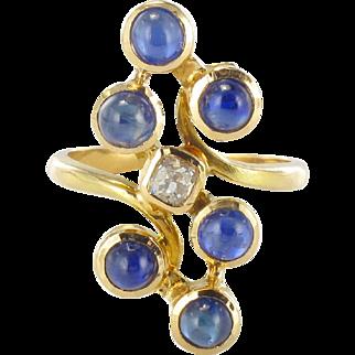 1970s Modernist Sapphire and Diamond Ring 18 Karat gold yellow