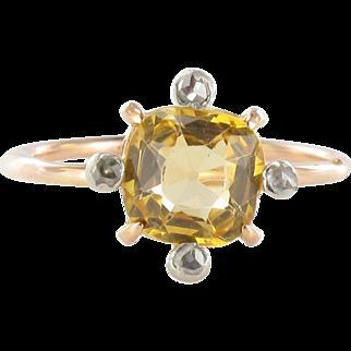 Antique Topaz Rose Cut Diamond Gold Ring 18 Karat gold yellow