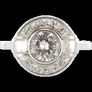 French Art Deco Round Diamond 18 Karats White Gold Ring