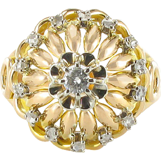 French 1960s Diamond Yellow Gold Cocktail Ring 18 Karats gold yellow