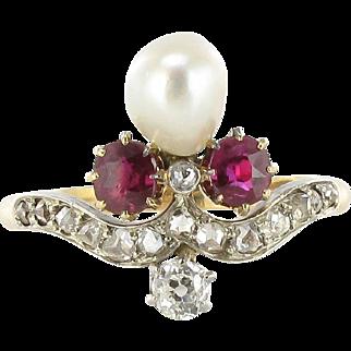 French Napoleon III Natural Pearl Ruby Diamond Duchess Ring 18 Karats gold yellow