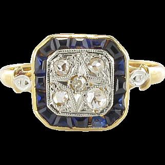 French Art Deco Diamond Ring 18 Karats gold yellow and white