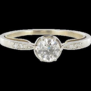 French 1930s Platinium Diamond Solitaire Ring
