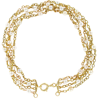 French 1900s Gold Belcher Chain and Pearl Antique Bracelet 18 Karats gold yellow