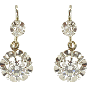 French Art Deco Numbered Diamond 18 Karats White Gold Drop Earrings