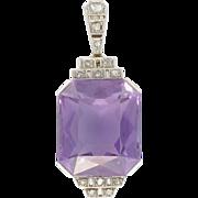 French Art Deco Amethyst Diamond Platinum Pendant 18 Karats gold white