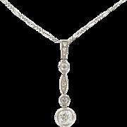 French Art Deco Platinium White Gold Diamond Pendant Necklace 18 Karats gold white