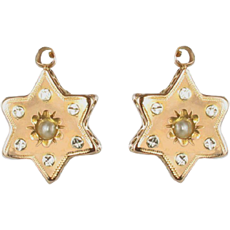French 19th Century 18 Karats Rose Gold Natural Pearl Star Drop Earrings