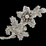 "French 19th Century Flower Diamond 18 Karats White Gold Silver ""Trembleuse"" Brooch"