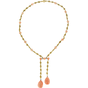 """French """"Belle Époque"""" Coral Angel Skin Diamond 18 Karats Yellow Gold """"Negligé"""" Necklace"""