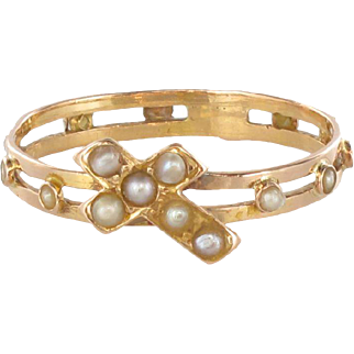 French Antique 18 Karats Rose Gold Natural Pearl Dizain Prayer Ring