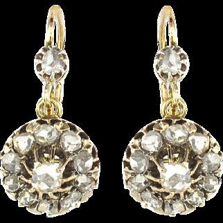 French Napoleon 3 1850s 18 Karat Rose Gold Diamond Drop Earrings