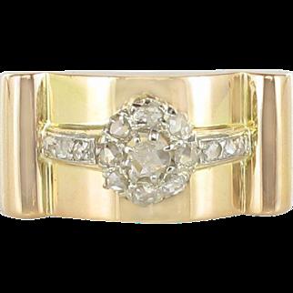 1950s French Flower Rose Cut Diamond 18 Karats Yellow Gold Tank Ring