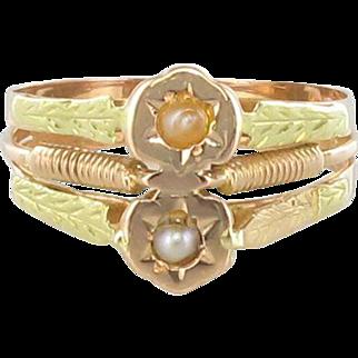 19th Century 18 Karats Rose and Green Gold Natural Pearl Ring