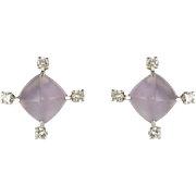 French Modernist Chalcedony Diamonds Stud Earrings 18 Karats White Gold
