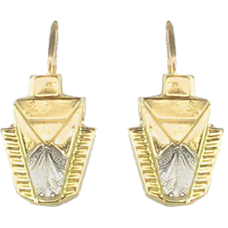 French 1930s Art Deco Yellow and White Gold Drop Earrings