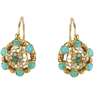 French Napoleon Three Turquoise Natural Pearl Drop Earrings 18 Karats Yellow Gold