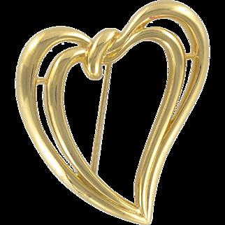 1970s Double Heart Trifari Brooch