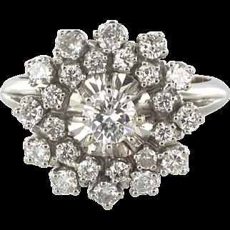 French 1960s Retro Cluster White Gold 1.13 Karats Diamond Ring