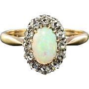1850s Opal and Diamond Ring - 18 K Rose Gold - Victorian Opal Ring