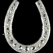 French Art Deco Diamond Gold Platinum Horseshoe Brooch 18 Karat gold yellow and platinum