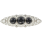 French Art Deco Onyx Diamond 18 Karats White Gold  and Platinum Brooch