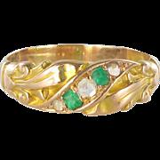 1850s 18 Karats Gold Rose Yellow Diamond Emerald Fleur de Lys Band Ring