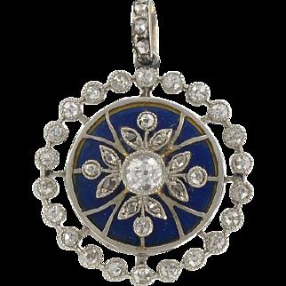 French Antique Diamond and Blue Enamel Medallion Locket Pendant 18 Karats gold white and yellow