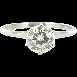 French 1.16 Carat Diamond Platinium Solitaire Engagement Ring
