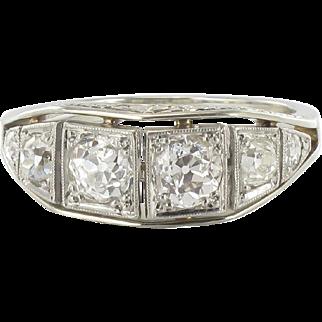 French Authentic Art deco White gold Platinium Diamond Garter Ring