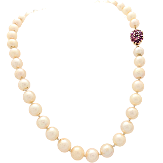 """Vintage 8mm Beaded 15"""" Cultured Pearl Necklace with 14K Yellow Gold Ruby Clasp"""