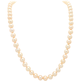 """Vintage 8mm Beaded 22"""" Cultured Pearl Necklace with 14K White Gold Diamond Clasp"""