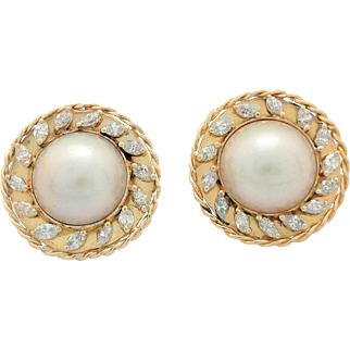 Vintage 14k Yellow Gold Marquise Diamond & 15.5 mm Mabe Pearl Earrings
